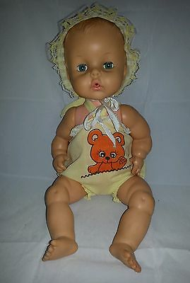 "Vintage 15"" Horsman Baby Doll Yellow Bonnet Blonde Hair Blue Eyes"