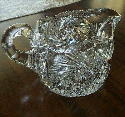 Antique ~ American Brilliant ~ Cut Glass Creamer