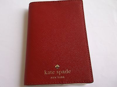 KATE SPADE Mikas Pond Leather Passport Holder Wallet Cover Pillbox Red  NWT
