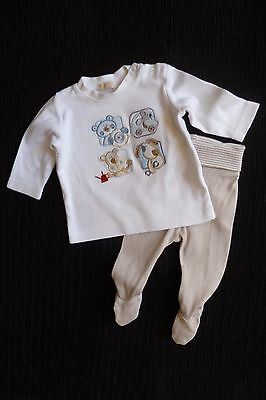 Baby clothes BOY newborn 0-1m outfit long sleeve animal top/beige foot trousers