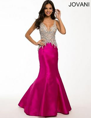 $750 - NEW with Tags, Authentic Jovani Gown, Prom, Beaded Fuchsia Gown, Size 4