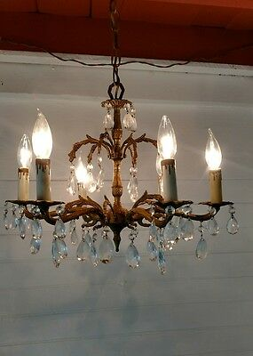Ornate Vintage 50s Spanish Gilded 6 Arm  Chandelier Lots of real Crystals
