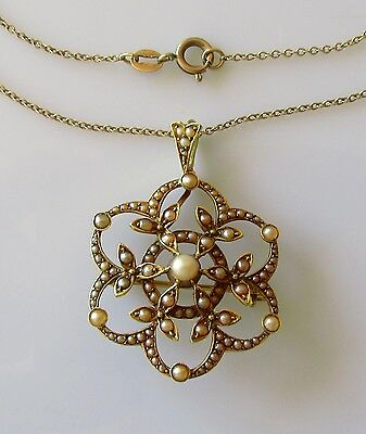 Victorian 15ct yellow gold seed pearl pendant & 9ct yellow gold chain(19inches).