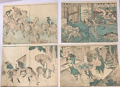 Lot of 4 Original Japanese Woodblock Prints by HOKUSAI