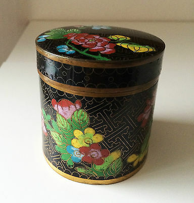 Old Chinese Cloisonné Cylindrical Covered Humidor Canister Jar Box