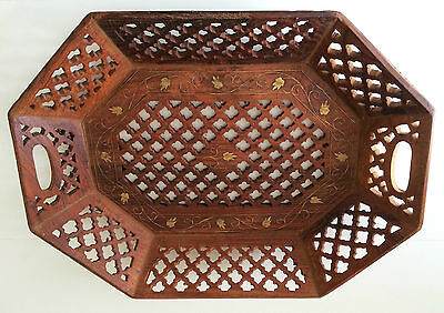 Carved Wood Wooden Serving Tray Platter with Brass Floral Leaf Inlay INDIA