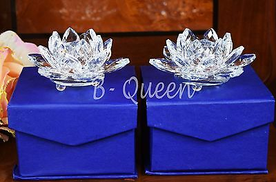 Pair Of Crystal Cut Clear Colour Lotus Flower & Gift Box Wedding Gift 9 Cm