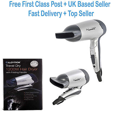 NEW Lloytron Travel Hairdryer With Compact Folding Hadle Dual 1200W H1010SV