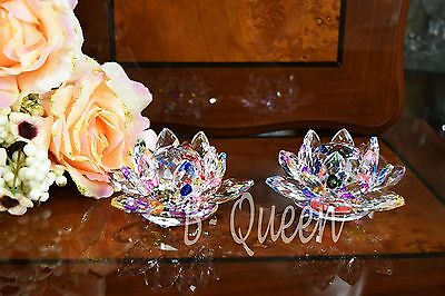 Pair Of Crystal Cut Multi Colour Lotus Flower & Gift Box Wedding Gift 11 Cm