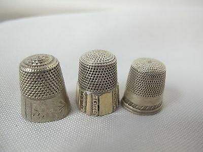 Vintage Sewing Thimbles (3)  Sterling Silver Simons Brothers W Gold  & So Easy