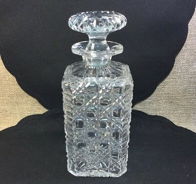 Vintage ANGLO IRISH CUT CRYSTAL HARVARD PATTERN Decanter With Stopper Mint