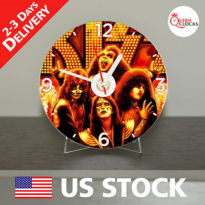 NEW Animated KISS CD Clock Music Rock and Roll Pop Metal Vintage Rockheads Group