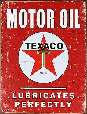 Texaco Motor Oil Lubricates Perfectly Distressed Retro Vintage Tin Sign