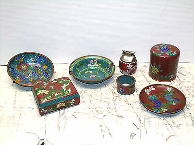 Assorted Antique Chinese Champleve Cloisonne Pieces