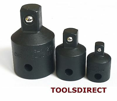 "Impact Socket Reducer Set. Step Down Adaptors 3/4 to 1/2 to 3/8 to 1/4"" drives"