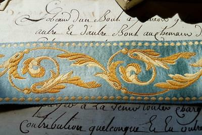 4.47 Mtrs of Stunning Vintage French Woven Blue & Gold Silk Passementerie Trim