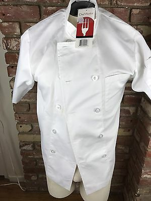 Chef Works White Unisex Chef Apron  Short Sleeve Jacket Size Small S Cook NWT