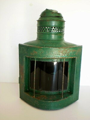 Antique Howard & Morse Ship's Lantern - Green Glass Lens - As Is Condition