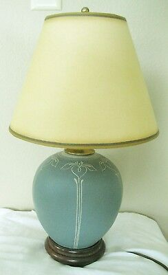 Vintage Arts & Crafts Mission Style Look Gray/Blue Iris Pottery Lamp 17'
