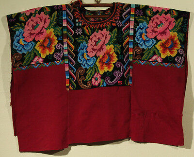 Guatemalan Hand Huipil Woven Embroidered Vintage Blouse Shirt Folk Art Colorful