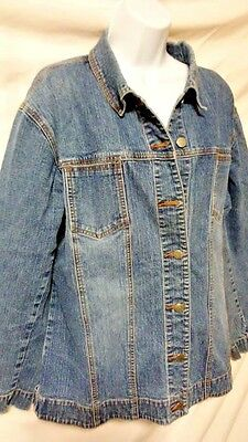 Chicos Women's Blue Denim Jacket - Button Front Pockets Long Sleeve Size 3 Large