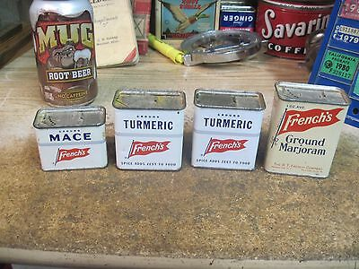 spice tin FRENCH'S  store 4 METAL CANS VINTAGE EMPTY ADVERTISING TURMERIC MACE