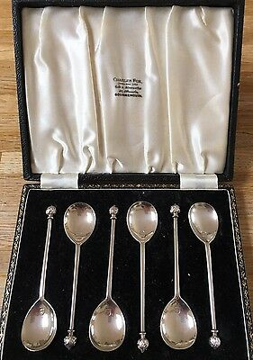 Boxed set sterling silver coffee spoons 1946 by Wm Suckling