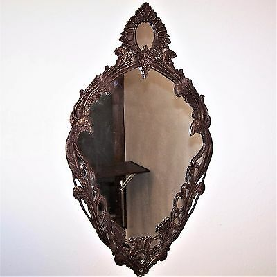 Vintage Art Deco Cast Iron Wall Mirror