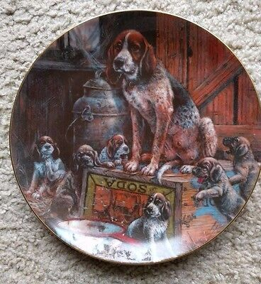 American Hound Dog & Puppies Schmid 1980's Collectors Plate  #4317 of 7,500