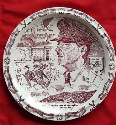 "GENERAL DOUGLAS MacARTHUR: 10.375"" Diameter Decorative Plate by Vernon Kilns USA"