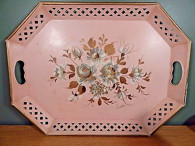 Vintage Pink Tole Hand Painted Tray With Cream And Brown Flowers