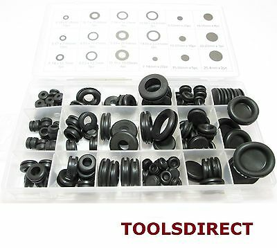 Toolzone 125pc Rubber Blanking Grommets Assorted Black Set +case Wiring Cable