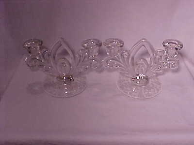 Rare Set Of Cambridge 3900/72 Crystal Etched Rose Point Candlesticks  -  Nr