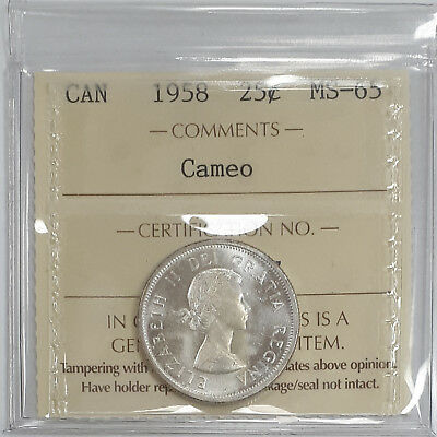 1958 Canada 25 Cents Certified By ICCS MS-65 Cameo (XLQ618)