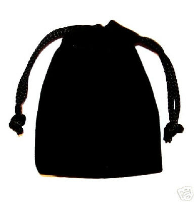 POUCH - LARGE BLACK VELOUR Crystal Bag with Drawstring Closure - 4 x 3 inch
