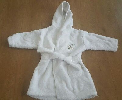 Mothercare Upto 6 Months White Hooded Robe Dressing Gown Good Con