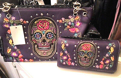 Womens Skull Purple Multi Handbag & Wallet Set Sugar Skull Nwt
