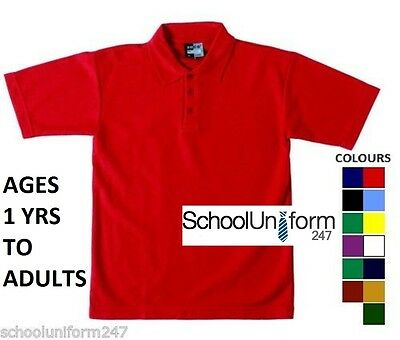 Zeco Boys Girls Adults School Polo Shirts PE Sports Plain Top Ages 1 to 20+ yrs