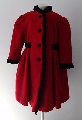 Vintage ROTHSCHILD Girls Sz 5 Red/Black Trim Victorian Style Dress Coat