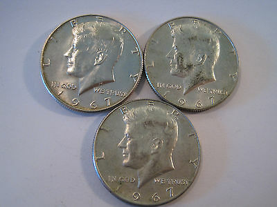 1967 Kennedy 40% Silver Half Dollar Coins Lot of 3 AS SHOWN *8030