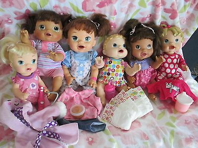 Lot of 6 Baby Alive Dolls & Accessories Baby WET WIGGLES, TEETH, CRAWL, SNACK, +