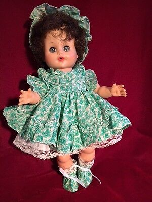"Vintage EEGEE rubber 12"" Drink, Wed Doll with Cute Outfit"