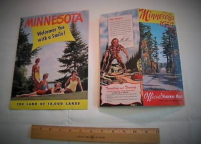 Vintage Minnesota Welcomes You Vacation Booklet Brochure and 1952 Highway Map