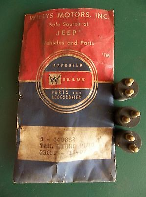 Vintage New Old Stock 3 Willys Jeep Tail Light Plugs Part # 640282