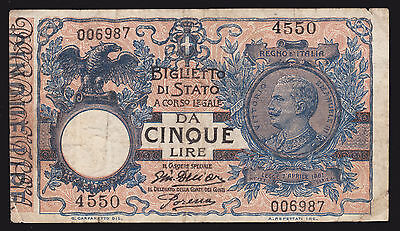 Italy 1904 Five 5 Lire Currency Bank Note P 23e Fine Cinque 29.7.18 1918 End WWI