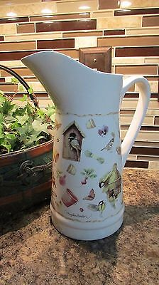 "Hallmark Marjolein Bastin Nature's Sketchbook Birdhouses Birds 10"" PITCHER"