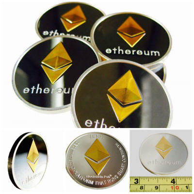"""Original Ethereum Coin Shiny Gold And Silver logo Plated coin Gift for Fans 1.5"""""""