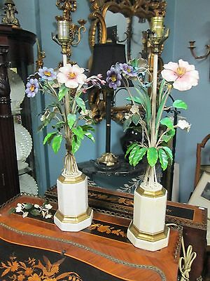 """Hollywood Regency Pair of Italian Toleware Lamps """"Bouquet of Flowers"""" w/Finials"""