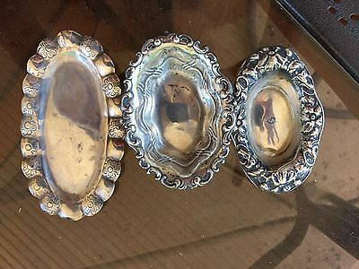 sterling dishes  flowers antique group of three