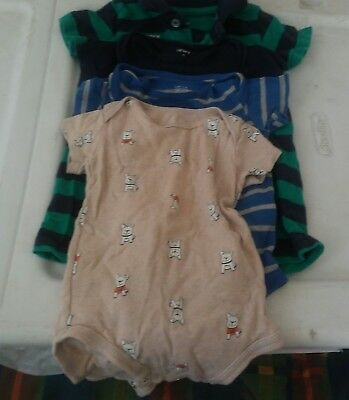 4 Piece Infant Baby Boy Onsies Size 9 Months